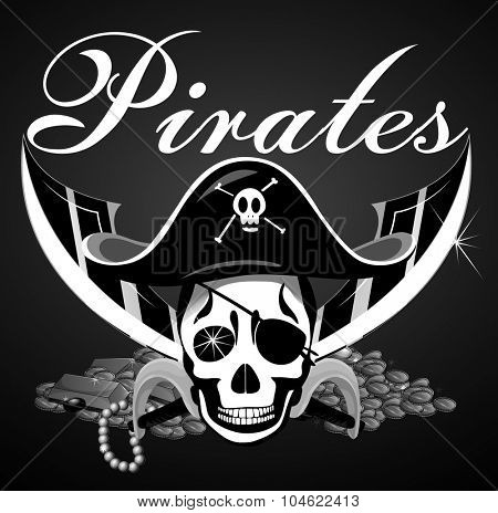 Pirate theme with skull and swords illustration