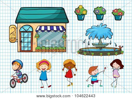 Children doing different activities and cafe illustration
