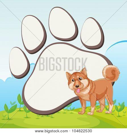 Border design with dog and footprint illustration