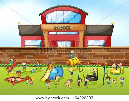 School building and playground illustration