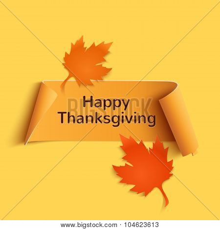 Happy thanksgiving, yellow curved banner.