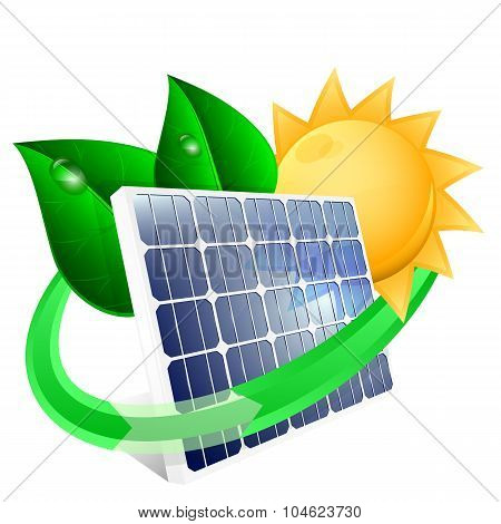 Solar Panel With Green Leafs, Renewable Energy Concept. Vector Illustration