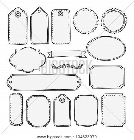 Set Of Hand Drawn Blank Vintage Frames, Tags, Labels, Isolated Vector