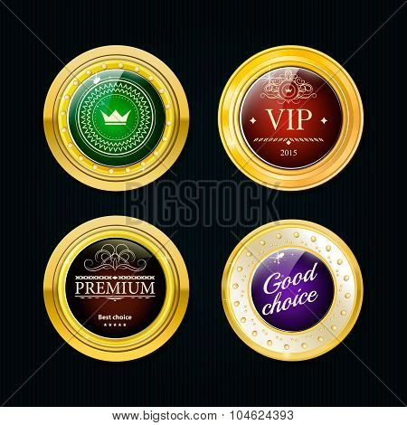 Glossy And Gold Labels . Colored Stones Set In Gold. Green Red A