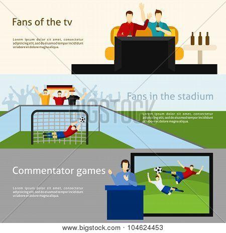 Soccer fans 2 flat banners set