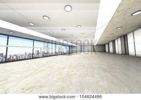 A empty office with the Skyline of Sao Paulo Brazil