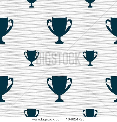 Winner Cup Sign Icon. Awarding Of Winners Symbol. Trophy. Seamless Pattern With Geometric Texture. V