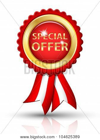 Golden Special Offer Tag With Ribbons