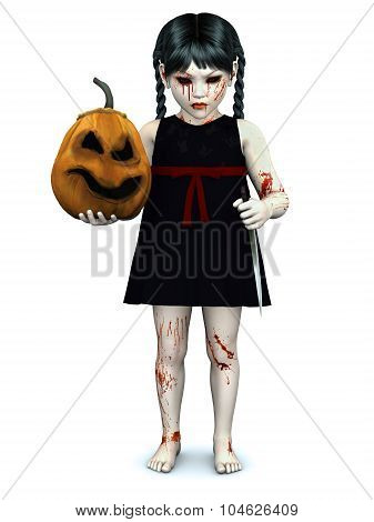 A Blood Covered Small Girl Holding Evil Pumpkin.