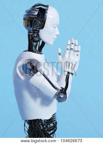 Robot Man Doing Namaste Nr 3.