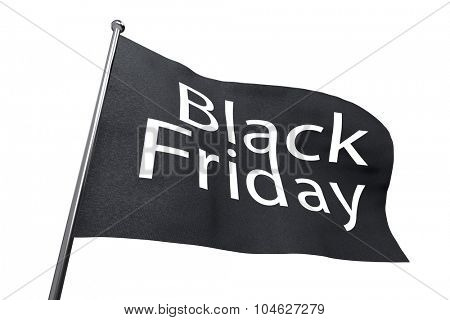 Big Black Friday waving flag isolated on white background.