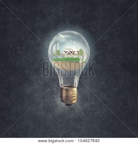 Eco house and energy saving concept in glass light bulb