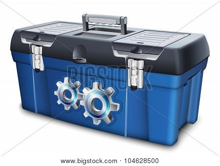 Tool Box With Gears Label. Vector Illustration