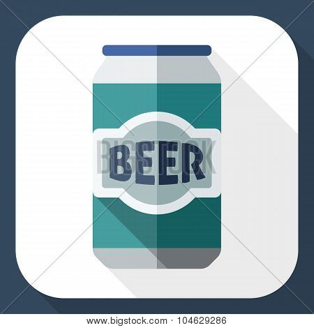 Beer Can Icon With Long Shadow