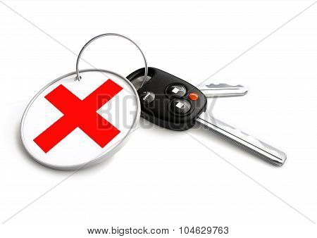 Car Keys With Declined Cross Symbol On Key Ring. Concept For Declined Vehicle Finance Loan Or Sale.