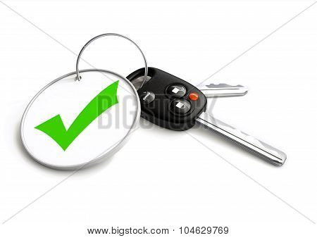Car Keys With Approved Tick Symbol On Key Ring. Concept For Approved Vehicle Finance Loan Or Sale.
