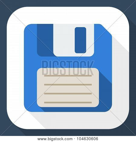 Floppy Disk Flat Icon With Long Shadow