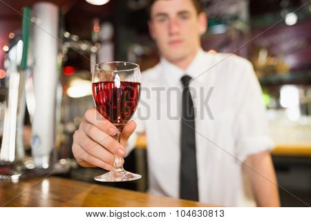 Male bartender serving alcohol at bar counter