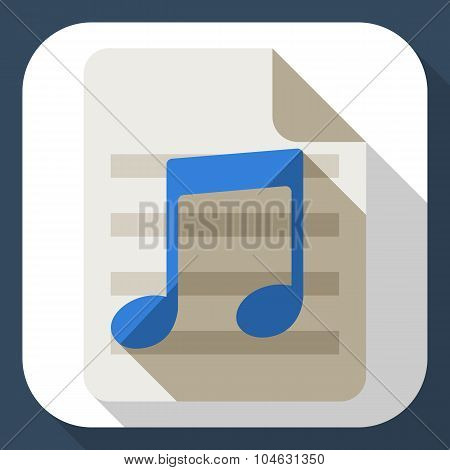 Music Note Flat Icon With Long Shadow