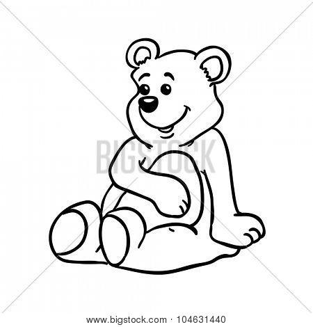 simple black and white bear cartoon