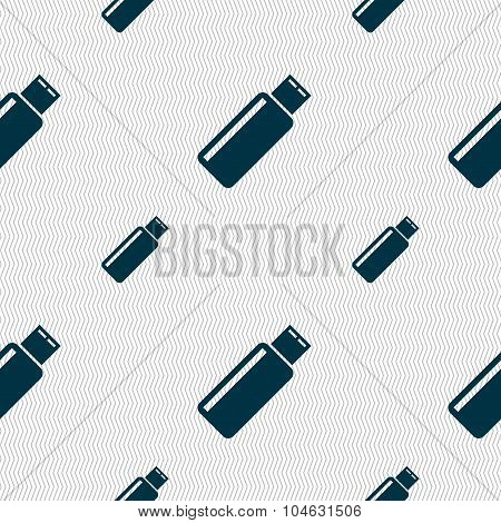 Usb Sign Icon. Flash Drive Stick Symbol. Seamless Pattern With Geometric Texture. Vector