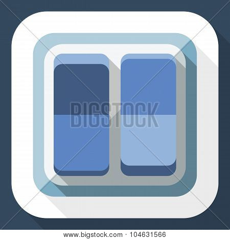 Power Switch Icon With Long Shadow