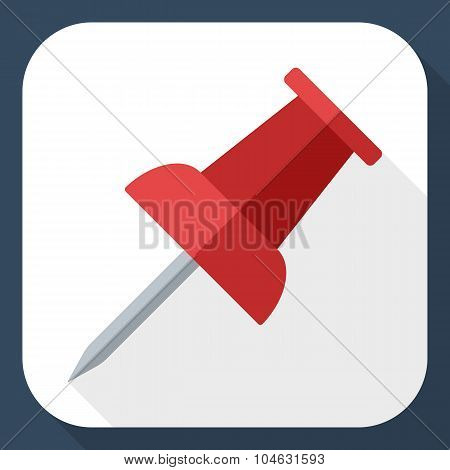 Push Pin Icon With Long Shadow