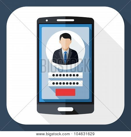 Smart Phone Icon With User Login Form And Long Shadow