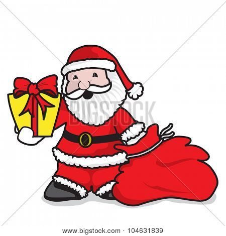 Santa Claus giving gifts - A vector illustration on white background