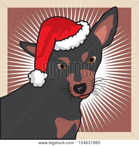 Christmas dog face detail wearing a Santa Claus' hat.