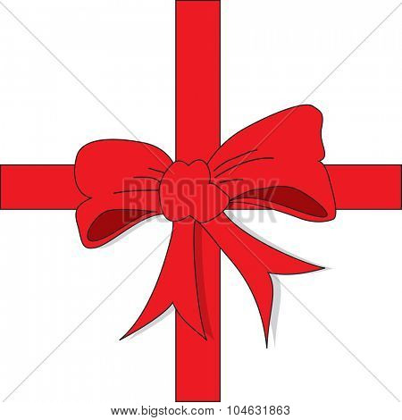 Top view of a red bow on gift package - A vector illustration.
