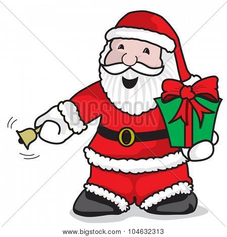 Santa Claus ringing the bell to give a gift - A vector illustration on white background