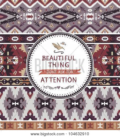 Motivation card  with tribal seamless pattern
