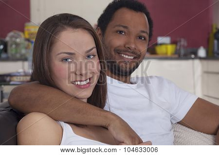 Interracial couple at home