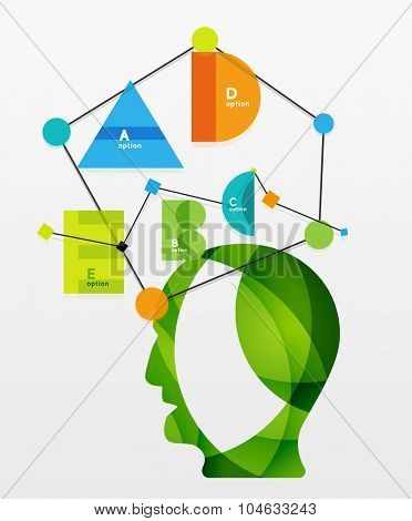 User head with geometric infographic A B C D and lines. Banner layout element with sample text