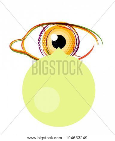 Abstract poster, stylized eye with empty speech bubble. Modern design layout for your message