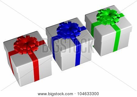 Gift Boxes Tied Ribbon With A Bow