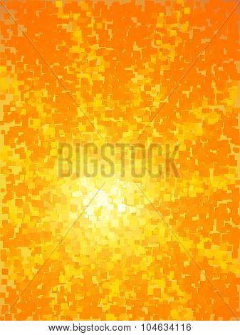 Abstract yellow and orange light burst square stylized vertical background.