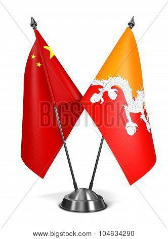 China and Bhutan - Miniature Flags.