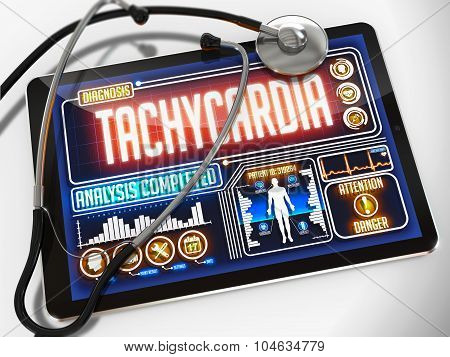 Tachycardia on the Display of Medical Tablet.