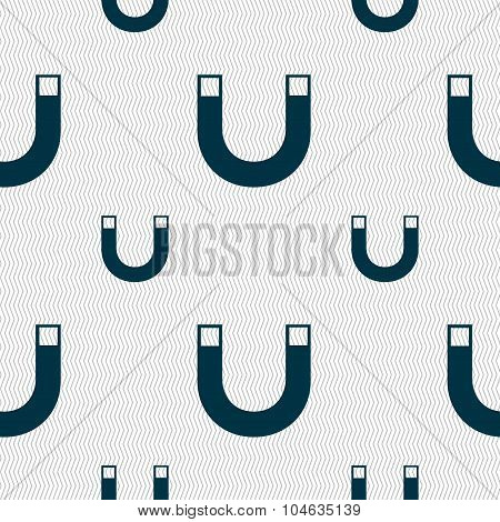 Magnet Sign Icon. Horseshoe It Symbol. Repair Sig. Seamless Pattern With Geometric Texture. Vector