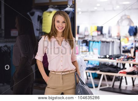 Beautiful girl in the store