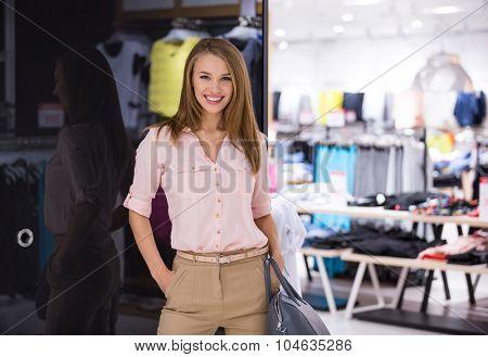 Beautiful girl in the store