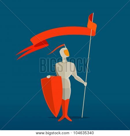 Medieval Knight With Spear, Shield And Flag, Banner.