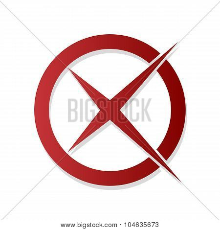Stop Sign Icon Cross In A Circle With Shadow