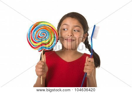 Cute Female Child Holding Big Spiral Lollipop Candy