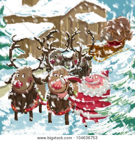 Christmas Snowing Scene Of Cartoon Santa Preparing Sleigh And Reindeers
