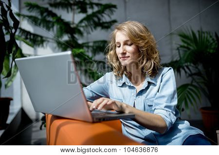 Businesswoman having good time, smiling and loughing