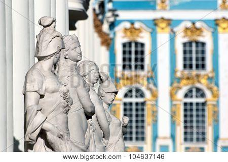 Tsarskoye Selo (Pushkin). Saint-Petersburg. Russia. The Sculpture Group near the Catherine Palace