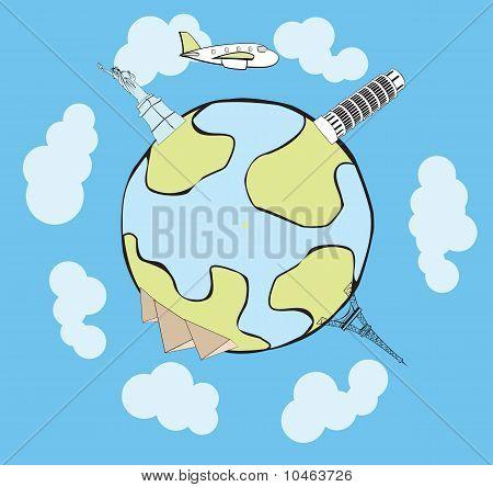 Vektor-Flugzeug reisen rund um den Globus